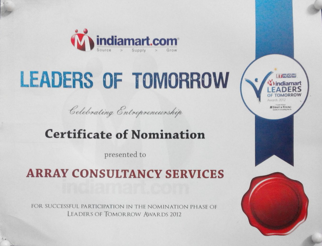 Array Consultancy Services awarded top 100 SME in India by Economic Times